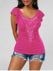 Lace Applique Top - ROSE RED