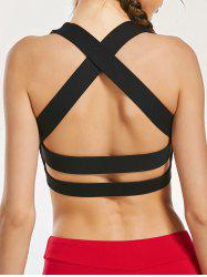 Padde Back Criss Cross Yoga Bra with Mesh Panel - BLACK