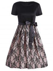 Knee Length Lace Trim Dress with Belt