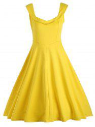 Vintage Fit et Flare Work A Line Dress - Jaune M