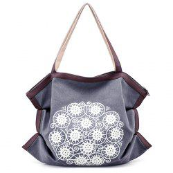 Print Canvas Ruched Shoulder Bag - GRAY