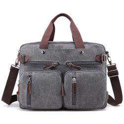 Canvas Multi Zips Tote Bag - GRAY