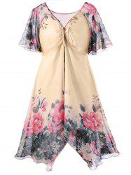 Lotus Print Plus Size Empire Waist Dress