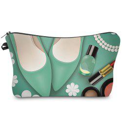 Cosmetics 3D Print Makeup Clutch Bag - GREEN