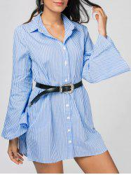 Stripes Long Sleeve Tunic Blouse Shirt Dress -