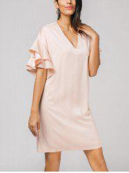 Flounces Layered V Neck Dress -