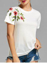 Flower Embroidered T-shirt -