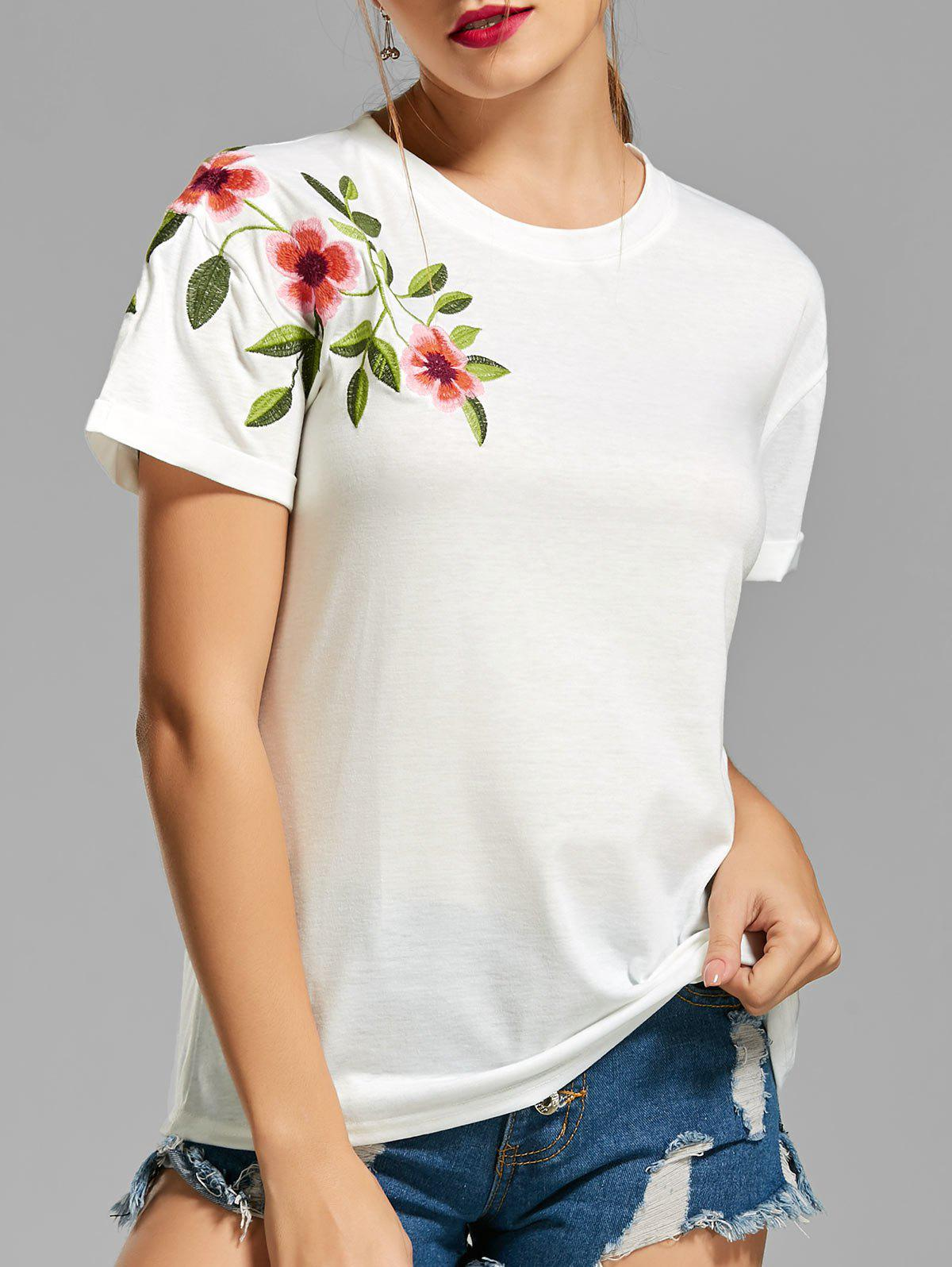 Store Flower Embroidered T-shirt