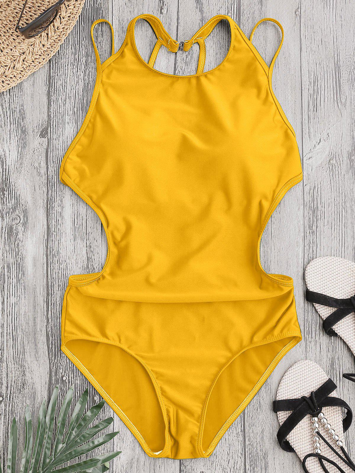 Back Strappy Padded SwimwearWOMEN<br><br>Size: L; Color: YELLOW; Swimwear Type: One Piece; Gender: For Women; Material: Chinlon,Spandex; Bra Style: Padded; Support Type: Wire Free; Neckline: Round Collar; Pattern Type: Solid Color; Waist: Natural; Elasticity: Elastic; Weight: 0.2200kg; Package Contents: 1 x Swimwear;