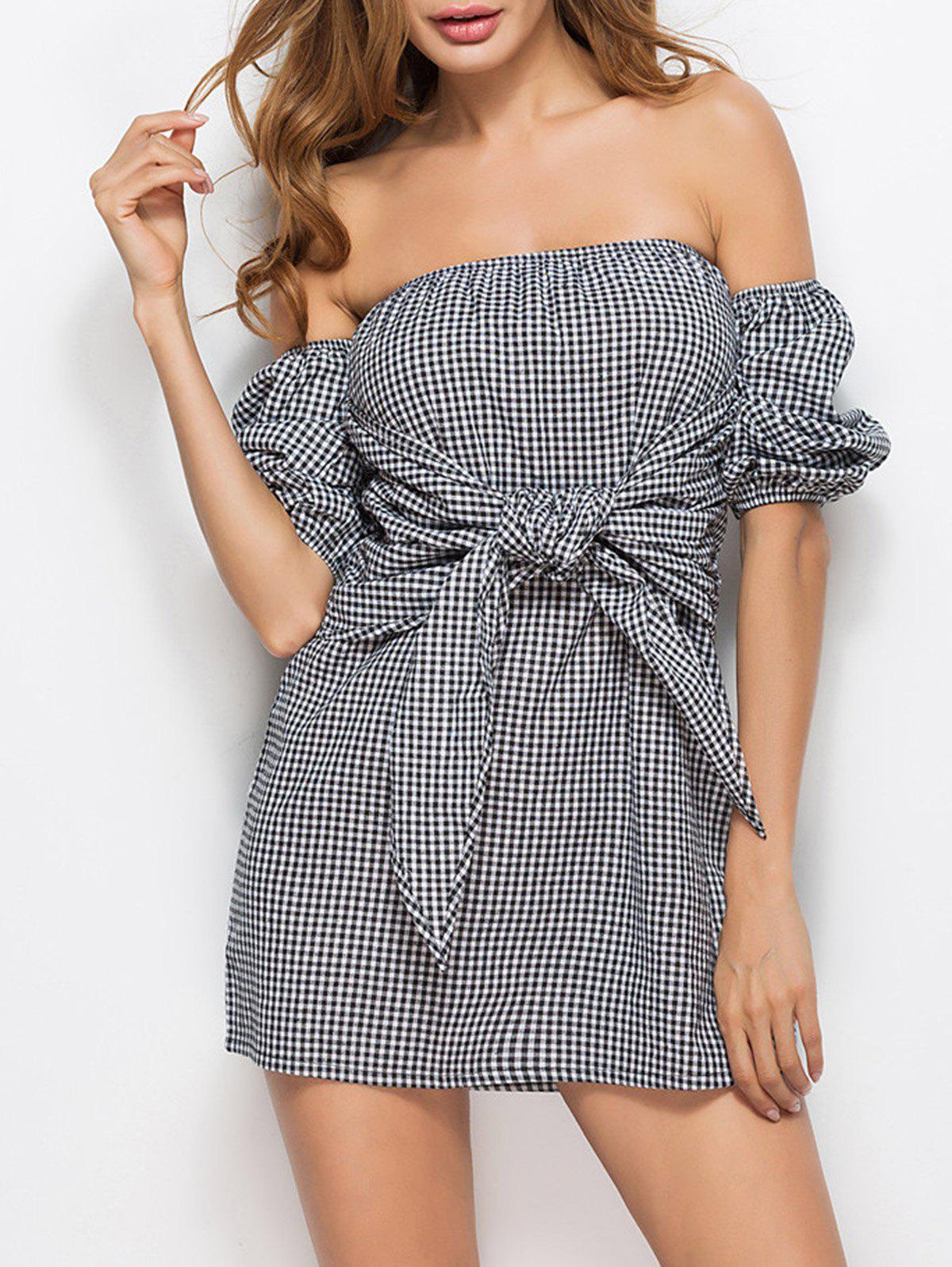 Outfit Off Shoulder Tie Waist Checked Mini Dress