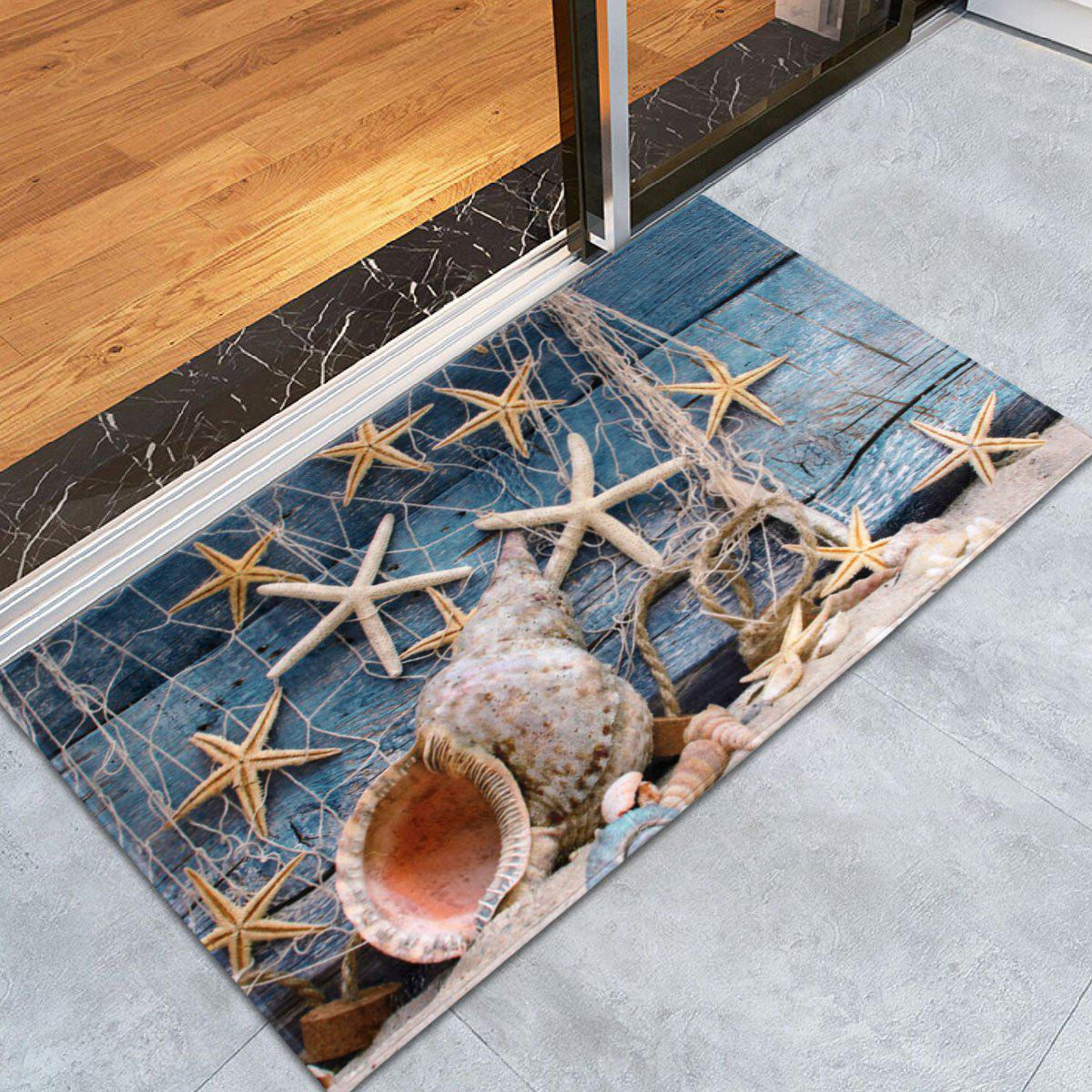 Coral Velvet Starfish Conch Floor Area RugHOME<br><br>Size: W24 INCH * L35.5 INCH; Color: BLUE GRAY; Products Type: Bath rugs; Materials: Coral FLeece; Pattern: Print; Style: Beach Style; Shape: Rectangle; Package Contents: 1 x Area Rug;