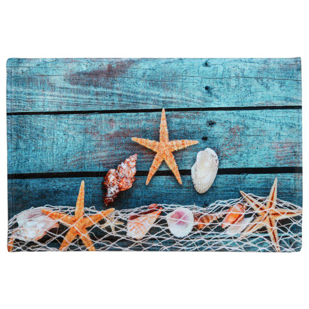 Starfish Shell Large Size Coral Fleece Bath RugHOME<br><br>Size: W16 INCH * L24 INCH; Color: LAKE BLUE; Products Type: Bath rugs; Materials: Coral FLeece; Pattern: Print; Style: Beach Style; Shape: Rectangle; Package Contents: 1 x Bath Rug;