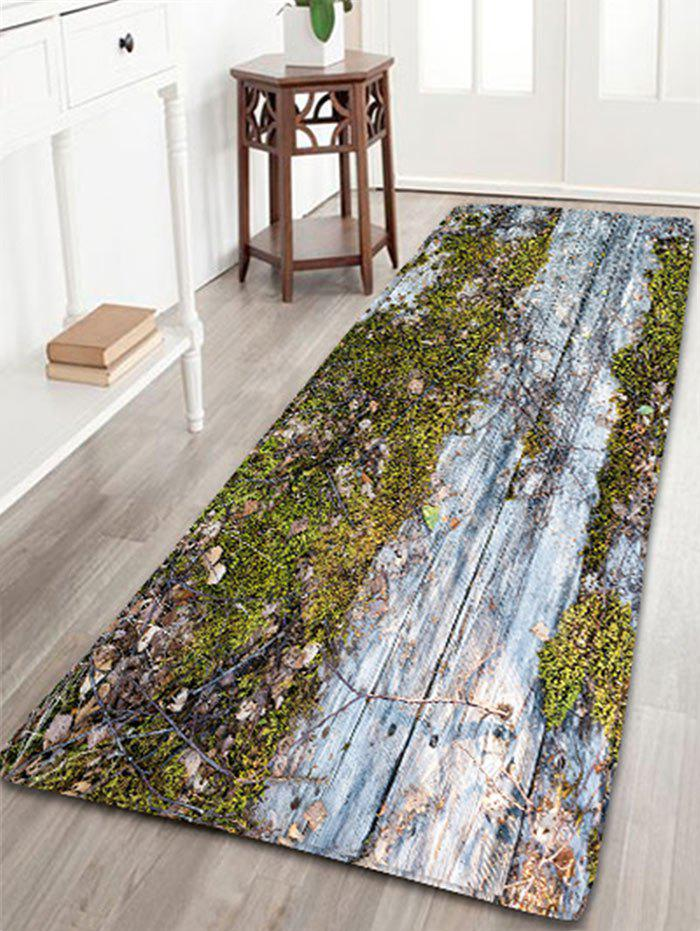 2018 Vintage Wood Grain Printed Flannel Bath Rug In Green