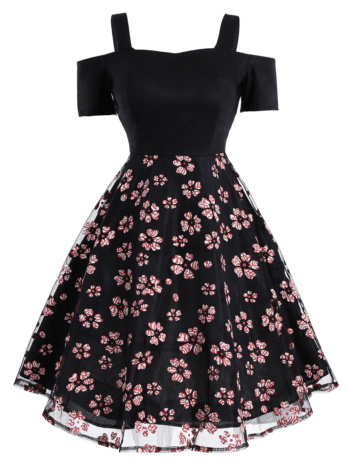 Mesh Panel Floral Vintage Fit and Flare DressWOMEN<br><br>Size: M; Color: BLACK; Style: Vintage; Material: Cotton,Polyester; Silhouette: A-Line; Dress Type: Fit and Flare Dress,Overlay Dress; Dresses Length: Mini; Neckline: Spaghetti Strap; Sleeve Length: Short Sleeves; Embellishment: Panel; Pattern Type: Floral; With Belt: No; Season: Summer; Weight: 0.3000kg; Package Contents: 1 x Dress;