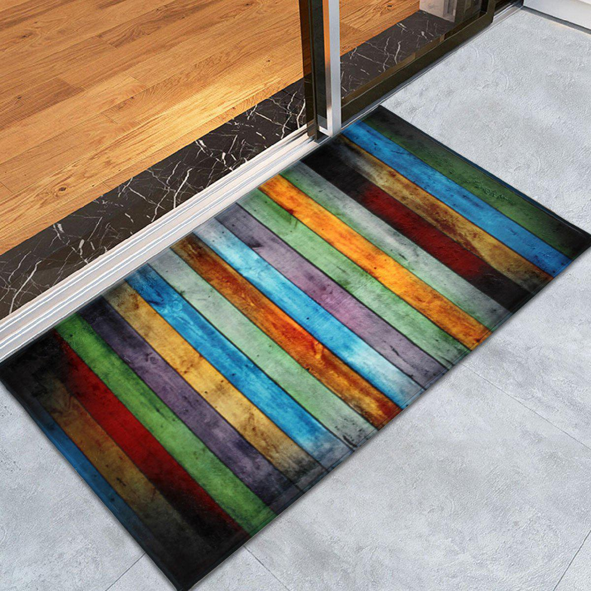 Colorful Stripe Coral Velvet Large Area RugHOME<br><br>Size: W24 INCH * L35.5 INCH; Color: COLORMIX; Products Type: Bath rugs; Materials: Coral FLeece; Pattern: Striped; Style: Vintage; Shape: Rectangle; Package Contents: 1 x Area Rug;