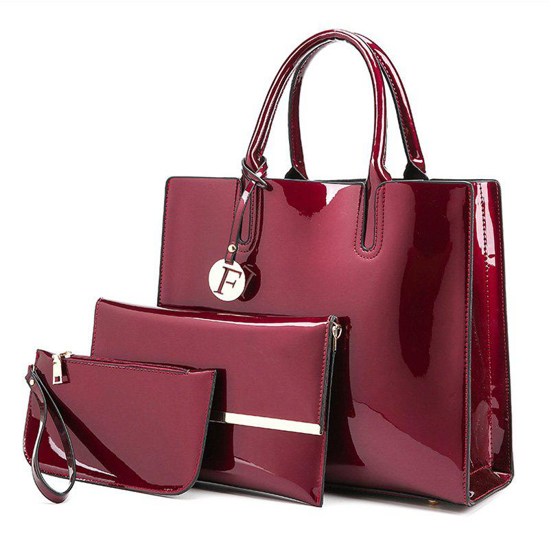 Outfits 3 Picecs Patent Leather Handbag Bag
