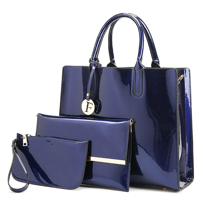3 Picecs Patent Leather Handbag BagSHOES &amp; BAGS<br><br>Color: BLUE; Handbag Type: Totes; Style: Fashion; Gender: For Women; Pattern Type: Solid; Handbag Size: Medium(30-50cm); Closure Type: Zipper; Occasion: Versatile; Main Material: Patent Leather; Weight: 1.2000kg; Size(CM)(L*W*H): Handbag Size: 33*12*29; Package Contents: 1 x Handbag,1 x Clutch Bag,1 x Wristlet;