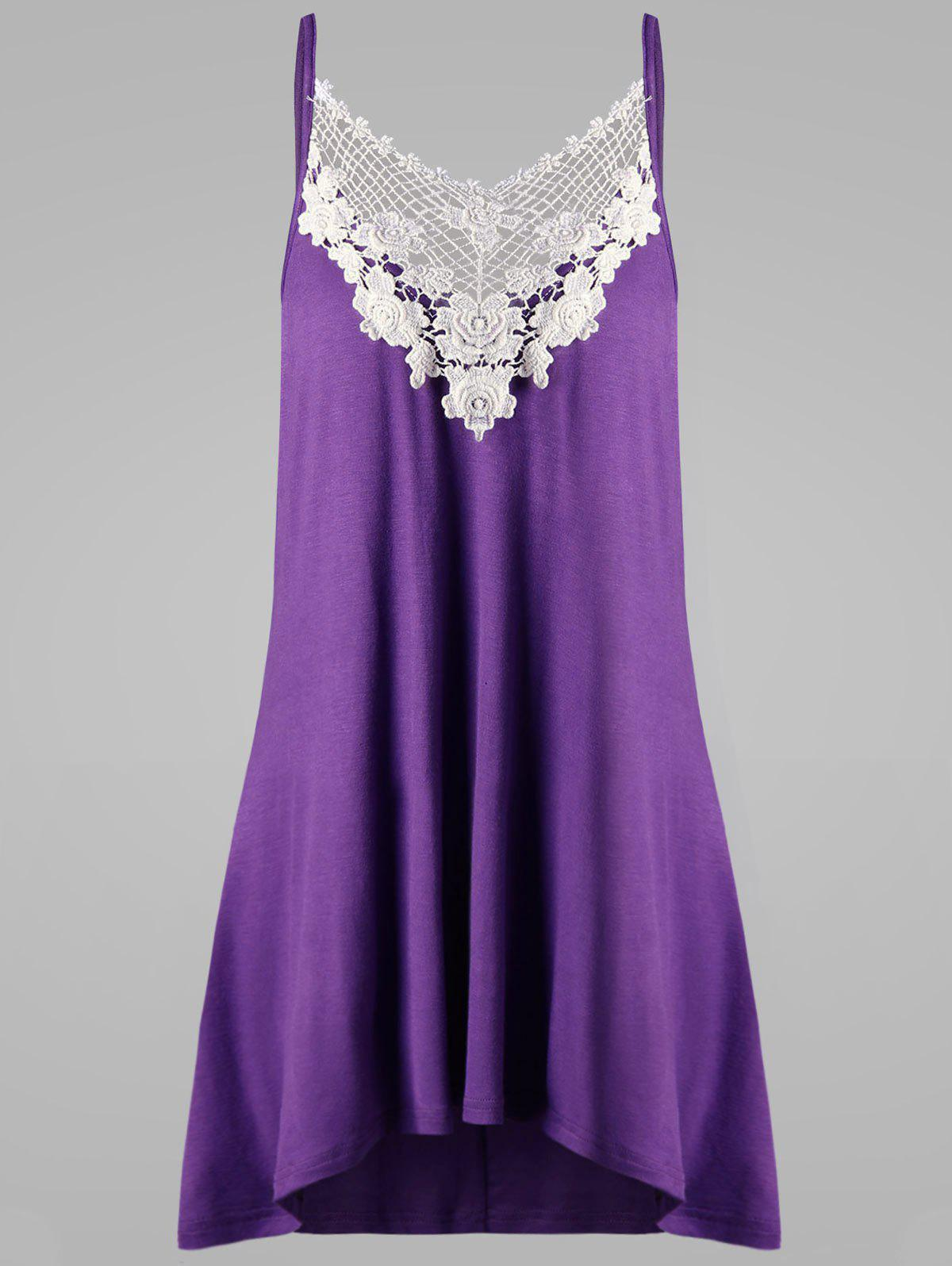 Plus Size Crochet Panel Openwork Tank TopWOMEN<br><br>Size: 4XL; Color: PURPLE; Material: Rayon,Spandex; Shirt Length: Regular; Sleeve Length: Sleeveless; Collar: Spaghetti Strap; Style: Casual; Season: Summer; Pattern Type: Floral; Weight: 0.2200kg; Package Contents: 1 x Tank Top;