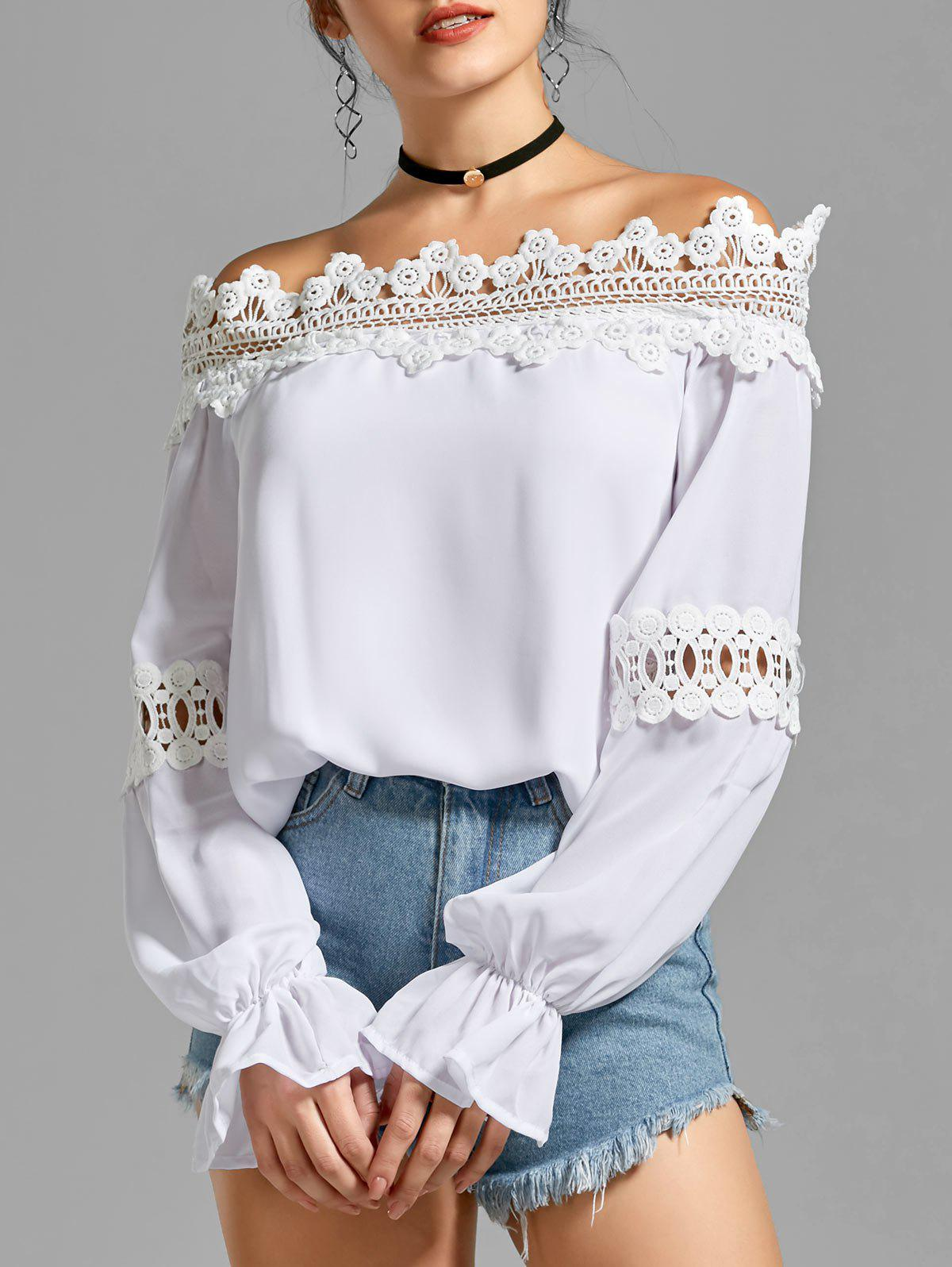 Bell Sleeve Off the Shoulder Lace Panel BlouseWOMEN<br><br>Size: M; Color: WHITE; Style: Fashion; Material: Polyester; Shirt Length: Regular; Sleeve Length: Full; Collar: Off The Shoulder; Pattern Type: Solid; Season: Fall,Spring,Summer; Weight: 0.3500kg; Package Contents: 1 x Blouse;