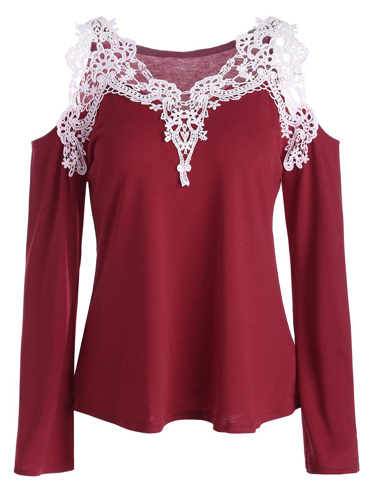 Cold Shoulder Lace Panel Color Block T-Shirt with Long SleeveWOMEN<br><br>Size: L; Color: RED; Material: Polyester; Sleeve Length: Full; Collar: V-Neck; Style: Fashion; Pattern Type: Patchwork; Season: Spring,Summer; Weight: 0.2130kg; Package Contents: 1 x T-Shirt;