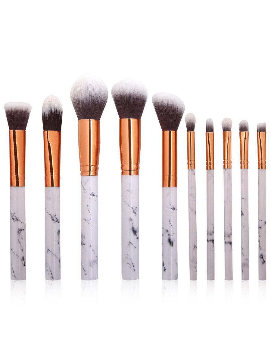 White 10pcs Marbling Handle Facial Makeup Brushes Kit