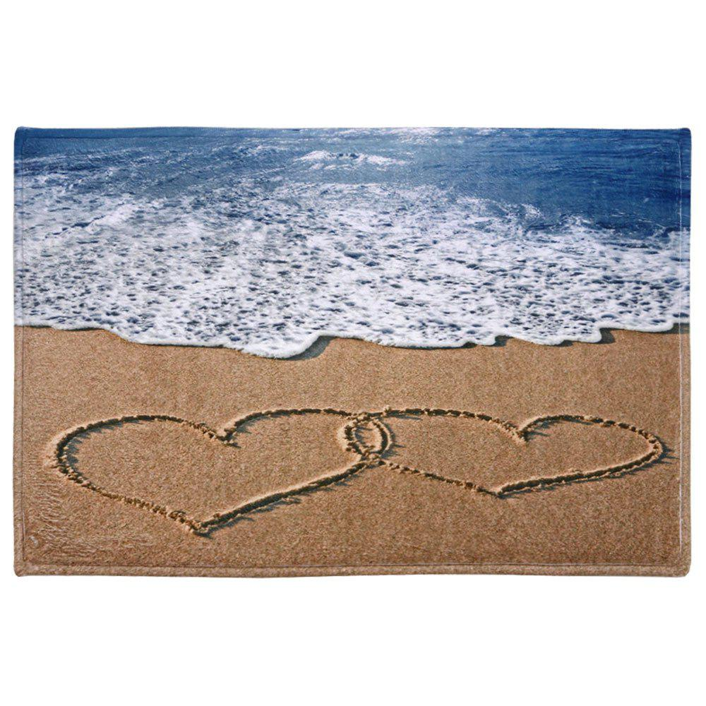 Beach Heart Print Coral Fleece Bath Area RugHOME<br><br>Size: W16 INCH * L24 INCH; Color: COLORMIX; Products Type: Bath rugs; Materials: Coral FLeece; Pattern: Print; Style: Beach Style; Shape: Rectangle; Package Contents: 1 x Area Rug;