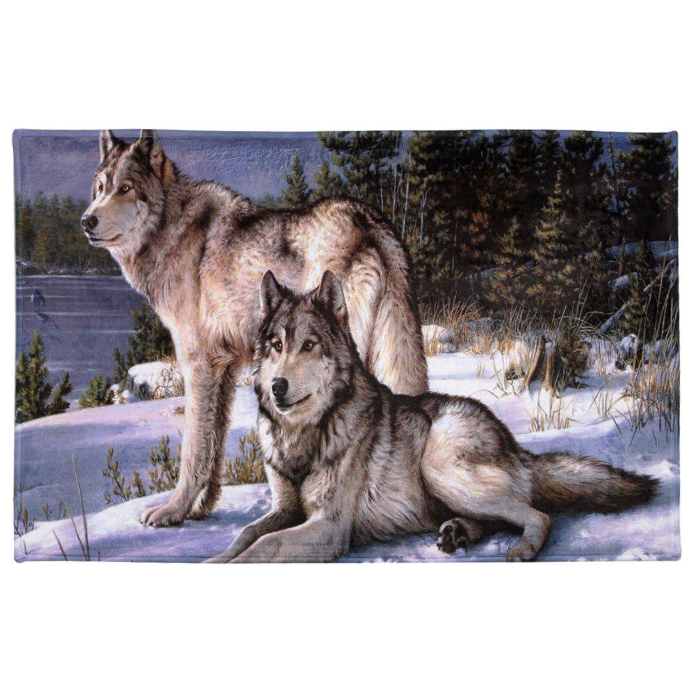 Coral Velvet Wolf Animal Large Area RugHOME<br><br>Size: W16 INCH * L24 INCH; Color: COLORMIX; Products Type: Bath rugs; Materials: Coral FLeece; Pattern: Animal; Style: Trendy; Shape: Rectangle; Package Contents: 1 x Area Rug;