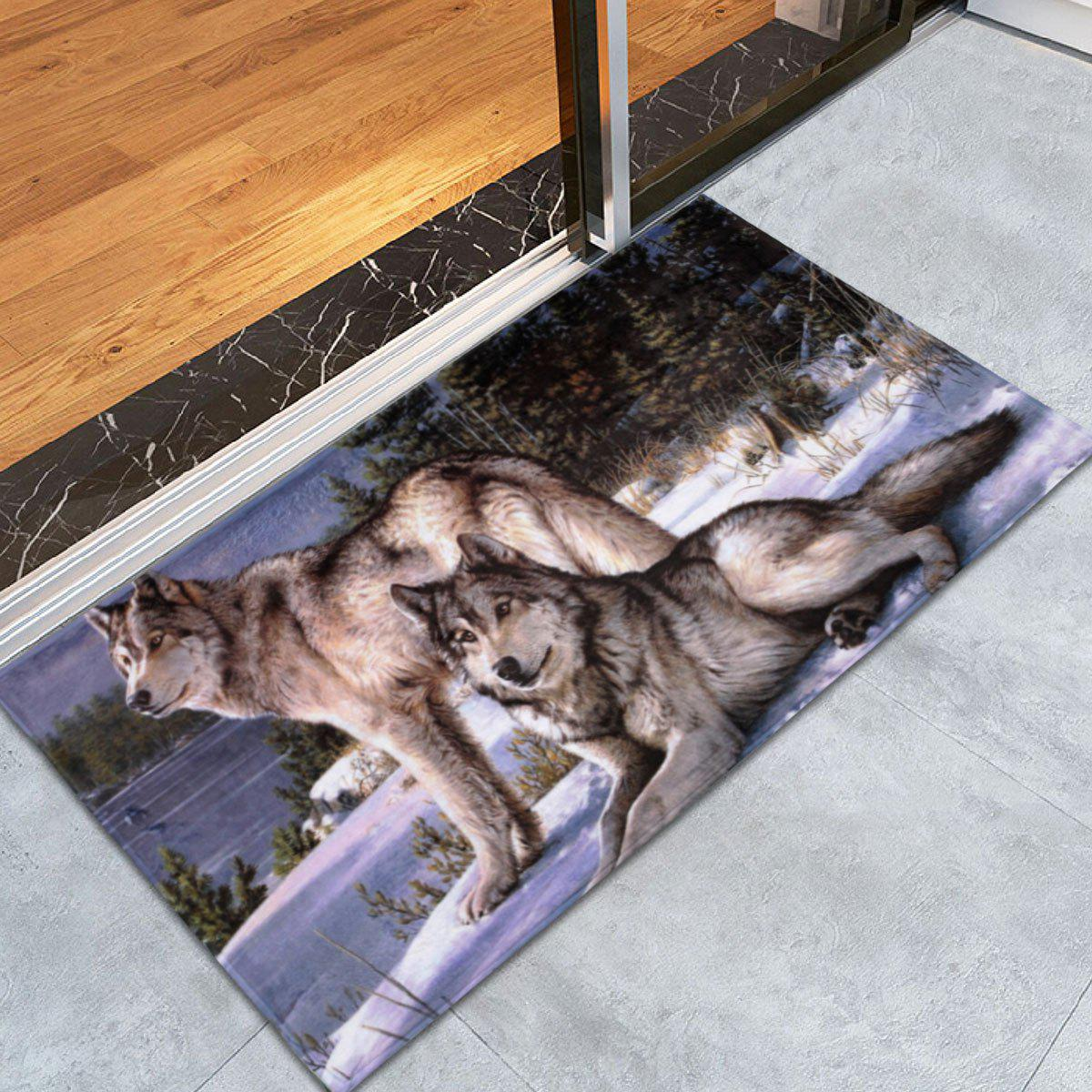 Coral Velvet Wolf Animal Large Area RugHOME<br><br>Size: W24 INCH * L35.5 INCH; Color: COLORMIX; Products Type: Bath rugs; Materials: Coral FLeece; Pattern: Animal; Style: Trendy; Shape: Rectangle; Package Contents: 1 x Area Rug;