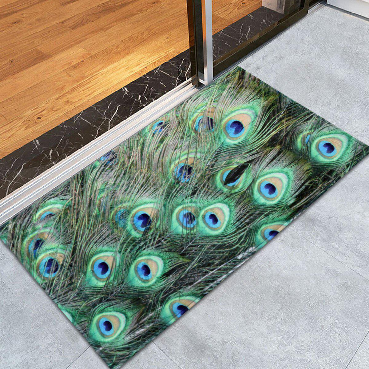 Non-slip Coral Velvet Peacock Feather Bath RugHOME<br><br>Size: W24 INCH * L35.5 INCH; Color: MALACHITE GREEN; Products Type: Bath rugs; Materials: Coral FLeece; Pattern: Feather; Style: Trendy; Shape: Rectangle; Package Contents: 1 x Bath Rug;