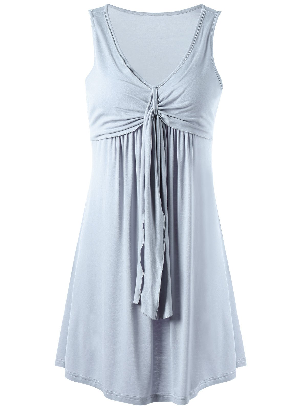 Overlay Drape Front Flared Tank DressWOMEN<br><br>Size: 2XL; Color: LIGHT GRAY; Style: Casual; Material: Rayon,Spandex; Silhouette: A-Line; Dresses Length: Mini; Neckline: V-Neck; Sleeve Length: Sleeveless; Pattern Type: Solid Color; With Belt: No; Season: Summer; Weight: 0.3000kg; Package Contents: 1 x Dress; Occasion: Casual ,Going Out,Night Out;