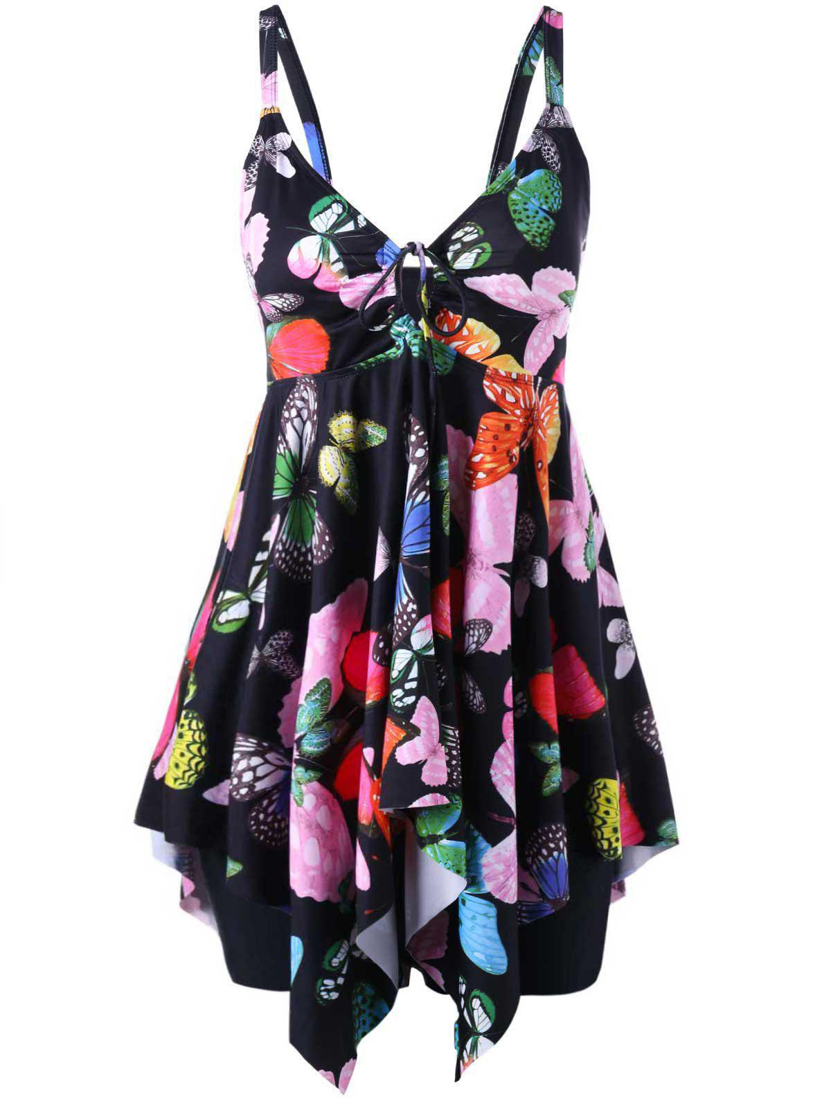 Butterfly Print Plus Size Handkerchief Tankini SetWOMEN<br><br>Size: 2XL; Color: BLACK; Gender: For Women; Swimwear Type: Tankini; Material: Polyester,Spandex; Pattern Type: Insect; Waist: High Waisted; Weight: 0.3000kg; Package Contents: 1 x Tank Top  1 x Panties;