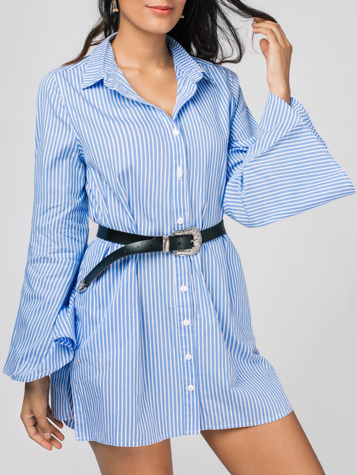 Unique Stripes Long Sleeve Tunic Blouse Shirt Dress
