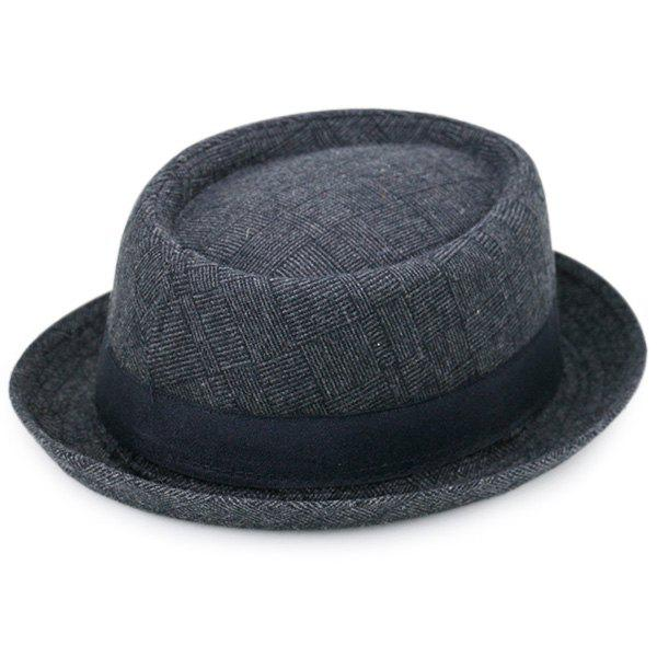 Pinstripe Plaid Ribbon Embellished Pork Pie HatACCESSORIES<br><br>Color: BLACK GREY; Hat Type: Fedoras; Group: Adult; Gender: For Men; Style: Fashion; Pattern Type: Striped; Material: Polyester; Weight: 0.1000kg; Package Contents: 1 x Hat;