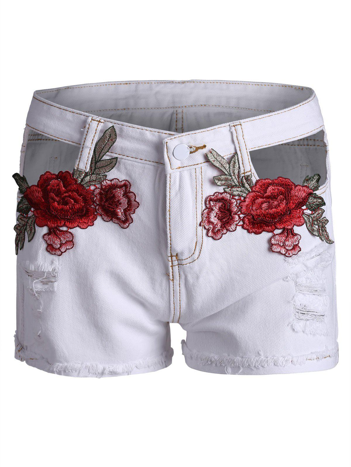 Sale Embroidered Curved Hem Ripped Denim Shorts