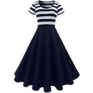 Stripe Midi Dress - Deep Blue - S