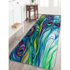 Skidproof Peacock Feather Bath Rug - Green - W24 Inch * L71 Inch