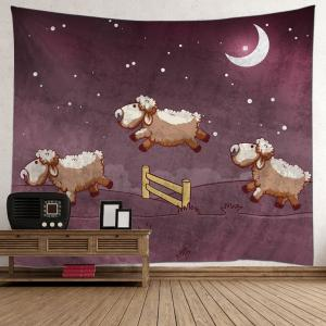 Wall Hanging Cartoon Sheep Moon Tapestry - Brown - W59 Inch * L59 Inch