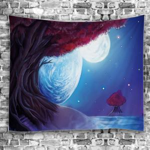 Oil Painting Tree Night Moon Decorative Tapestry -