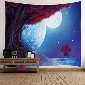 Oil Painting Tree Night Moon Decorative Tapestry - Light Blue - W59 Inch * L59 Inch