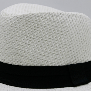Ribbon Straw Woven Fedora Hat - WHITE