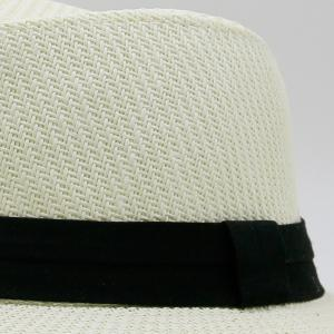 Ribbon Straw Woven Fedora Hat - OFF-WHITE