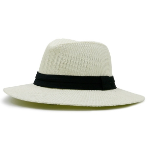 Ribbon Straw Woven Fedora Hat - Off-white - One Size