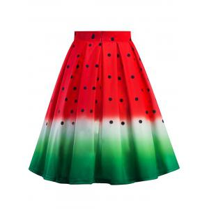 Knee Length A Line Watermelon Print Skirt - RED S