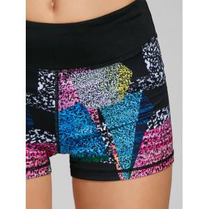 Bloc de couleurs imprimé Mini Leggings de fitness - Noir XL