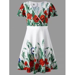 Plus Size Floral Surplice Short Sleeve Dress