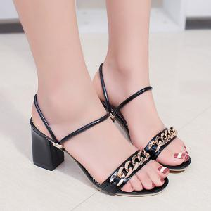 Block Heel Chain Faux Leather Sandals - Black - 39