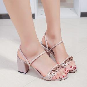 Block Heel Chain Faux Leather Sandals - Pink - 38