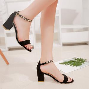 Ankle Strap Woven Block Heel Sandals - BLACK 37