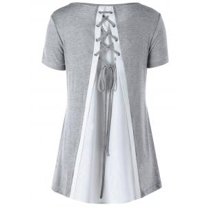 Split Effect Contrast Lace Up Top - Gray - Xl