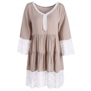 Long Sleeve Lace Panel Smock Dress - Colormix - S